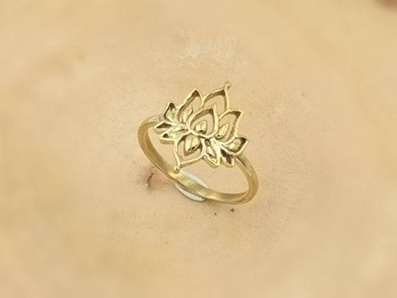 Boho Lotus Flower Gold Ring