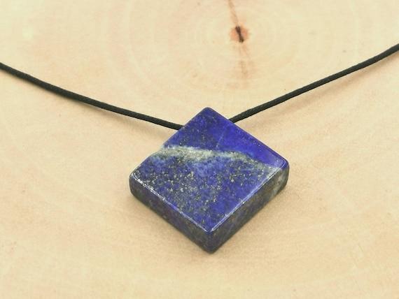 Rectangular Lapis Lazuli Pendant, Drilled Stone with Cotton Thread