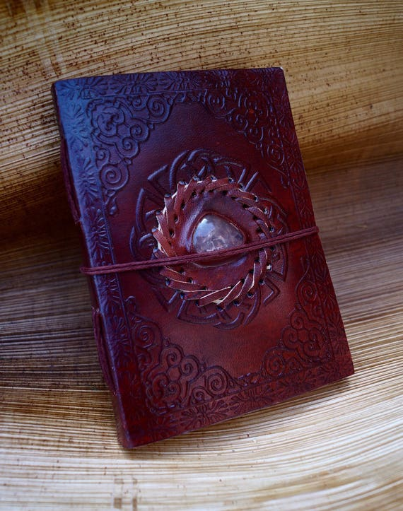 "Handmade Camel Leather Notebook with Stone (Rosequartz, Labradorite, Tiger's Eye, Malachite, Lapislazuli), ""Indian Spiral"" 5x7 Inches"