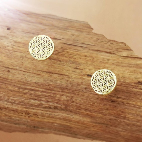 Flower of Life Stud Earrings 18k Gold Plated 925 Silver, Sacred Geometry Studs, Small Flower of Life Studs
