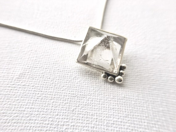 Himalayan Crystal Pyramid Silver Pendant