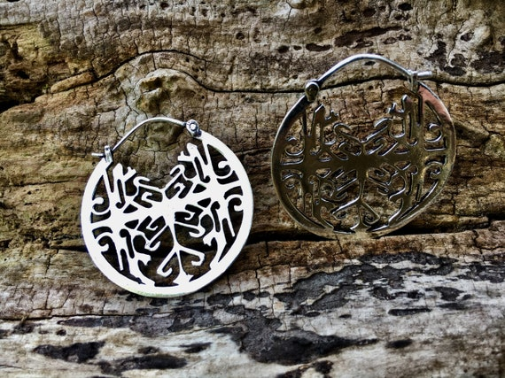 "Boho Earrings ""Indigenous Mandala"" Brass/ Silver Plated"
