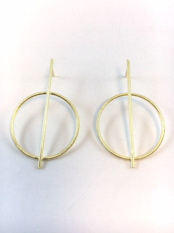 Stick Circle Stud Earrings, 925 Silver/ 18k Gold Plated, Minimalist Studs