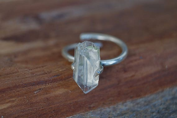 Raw Quartz Ring Brass/Silver, Natural Quartz Ring, Adjustable Chrystal Ring