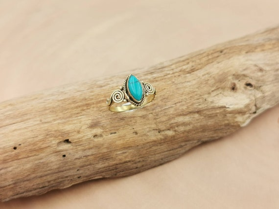 Classic Boho Ring with Stone, Golden Boho Ring with Tiger's Eye, Black Onyx, Green Onyx, Moonstone and Turquoise