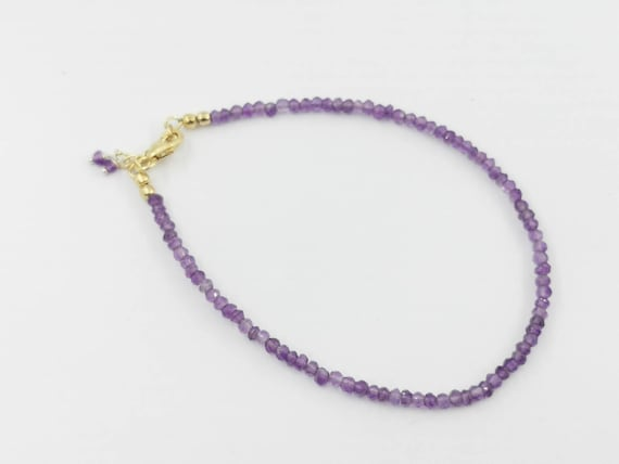 Thin Faceted Amethyst Bead Bracelet 18k Gold Plated 925 Silver with Charm