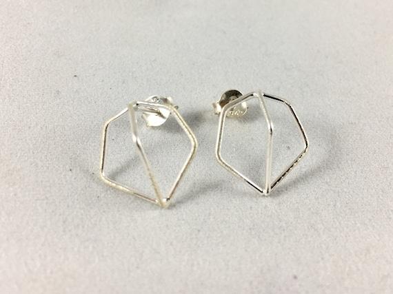 Hexagonal Geometrical Studs, 925 Silver Studs