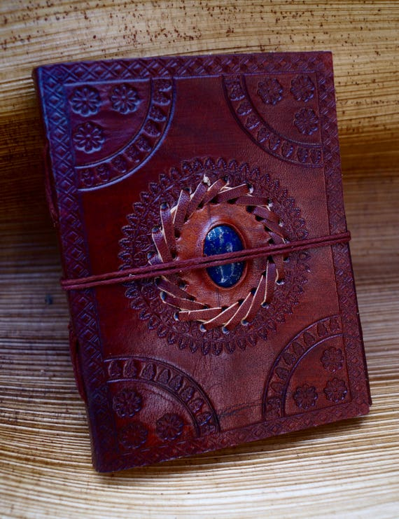 "Handmade Camel Leather Notebook with Stone (Lapislazuli,Obsidian,Tiger's Eye,Labradorite,Rosequartz, Chrysocolla )""Sun Mandala, 4,5x6 Inches"