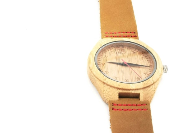 Bamboo Watch for Men and Women, Wood Watch with Engraved Dial Big Size