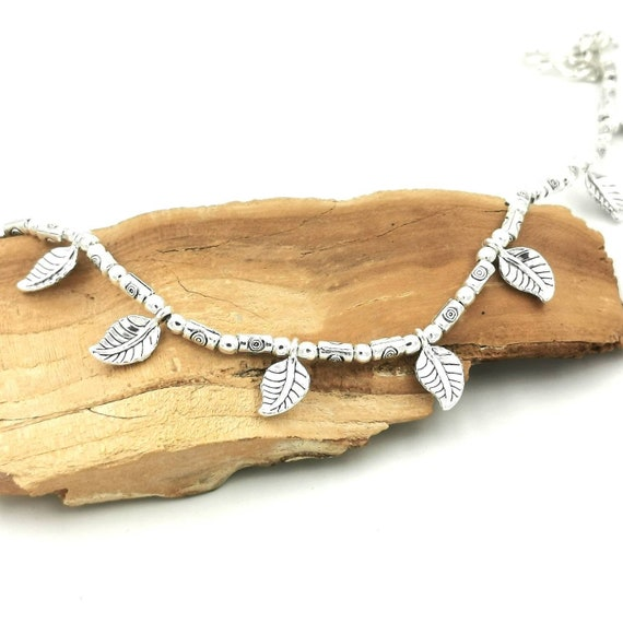 Silver Anklet with Leaves, Silver Plated Brass Anklet, Summer Boho Anklet