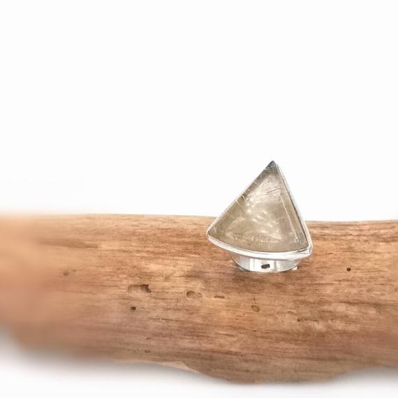 Triangular Gold Rutile Quartz Ring 925 Silver Adjustable