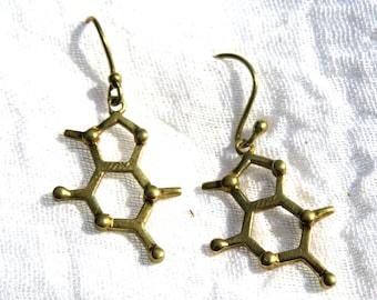 Theobromine Molecule Earrings 925 Silver/Brass, Chocolate Earrings