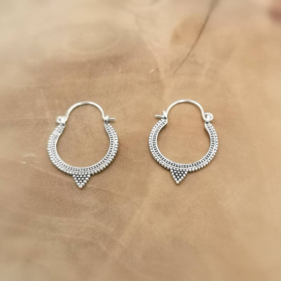 Oriental Boho Hoop Earrings 925 Silver