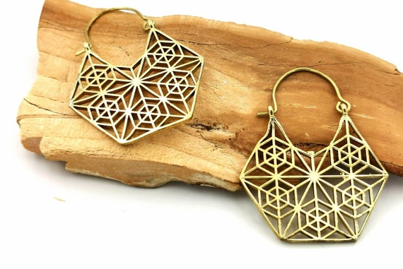 Hexagon Boho Brass Hoop Earrings, Mandala Hoop Earrings, Tribal Hoop Earrings