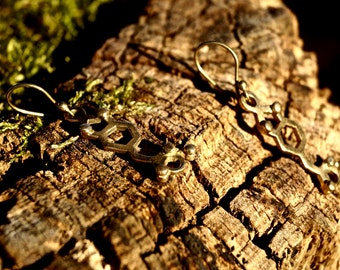 MDMA Earrings, Molecular Structure Earrings MDMA Brass/Silver Plated, Golden MDMA Earrings