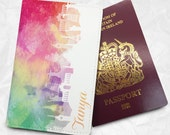 Colourful Scenic Personalised Custom Name Faux Leather Passport Cover Passport Holder Card Holder with FREE Name Printing (BBS049)