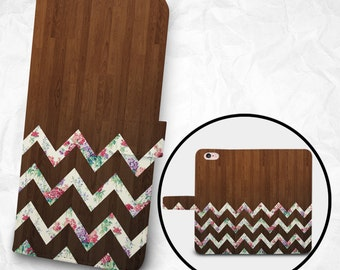 iPhone 8 Case with Strap, iPhone 8 Plus Case Wallet, iPhone X Case Wallet, iPhone 7 PLUS Wallet, iPhone 7 Plus Wallet, Floral Chevron Wooden