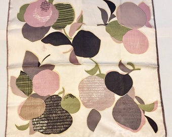 Silk square scarf. Vintage. Champagne satin with purple apples, pears and blossom. Circa 1970s