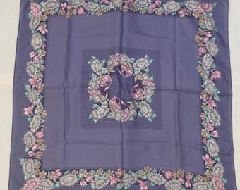Square vintage scarf. Jacqmar of London. purple, mauve, lilac. Florals. Circa 1970s