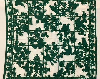 Vintage square scarf. Green and white. Bird silhouette. Circa 1960s