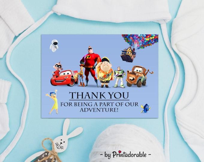 Pixar Thank You Card, Pixar Favor Tag, Pixar Printables, Pixar Party Set, Pixar Thank You, Pixar Birthday