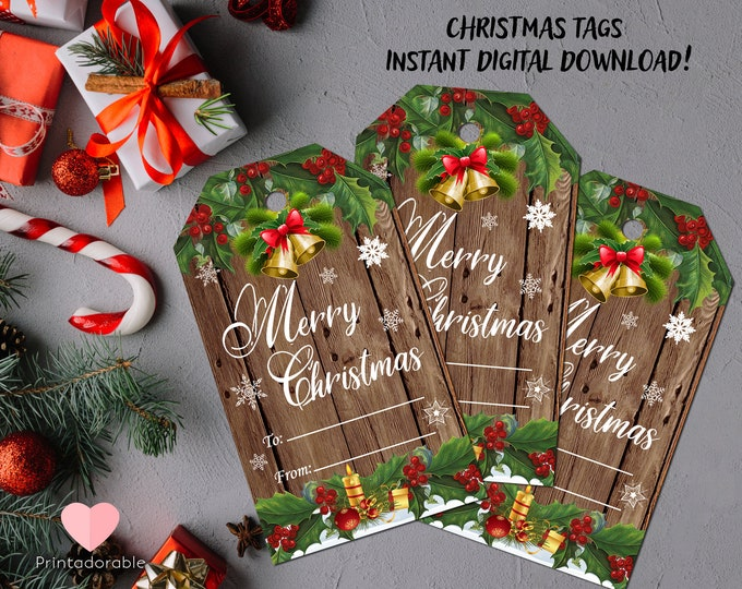 Rustic Christmas Tags, Rustic Gift Tags, Xmas Rustic Tags, Wood Gift Tags, Digital tags, Rustic Holiday Tags, Instant Download Tags, Xmas