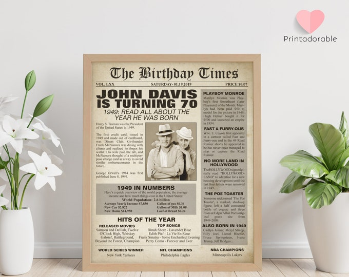 1949 Sign, 70 years sign, 70th birthday sign, The World in 1949, 1949 Poster, 1949 Newspaper, 1949 Cover, The Birthday Times, Born in 1949
