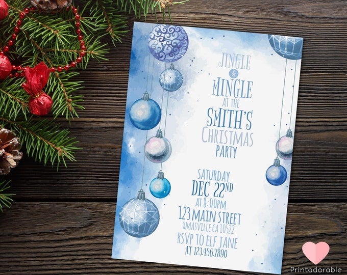 Blue Christmas Watercolor Invitation, Christmas Invite, Christmas Invitation, Xmas Party Invite, Christmas Watercolor, Xmas Watercolor