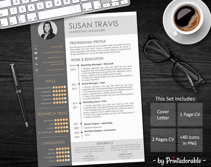 Resume Template - CV Template - Professional Resume - Resume Design - CV Design - Curriculum Vitae - Job Application - Resume Word - CV Word