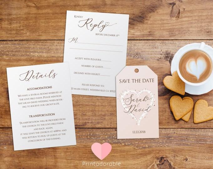 Minimalist Wedding Set, Save the Date Card, Reply Card, Details Card, Wedding Set, Wedding Kit, Marriage Set, Marriage Kit