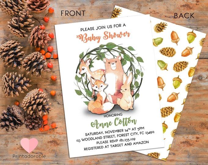 Woodland Baby Shower - Woodland Animals Invite - Woodland Party - Forest Baby Shower - Forest Animals invite - Watercolor Animals invite