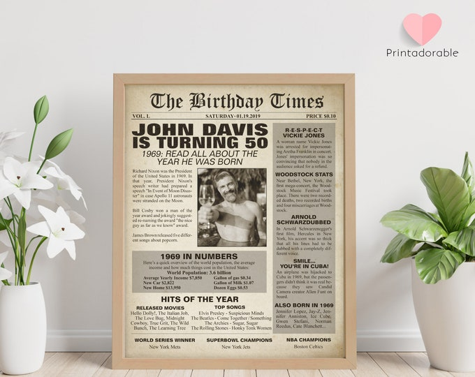 1969 Sign, 50 years sign, 50th birthday sign, The World in 1969, 1969 Poster, 1969 Newspaper, 1969 Cover, The Birthday Times, Born in 1969