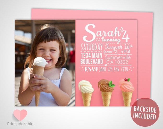 Ice Cream Invite • Ice Cream Invitation • Ice Cream Birthday • Summer Invite • Summer Invitation • Ice Cream Cone