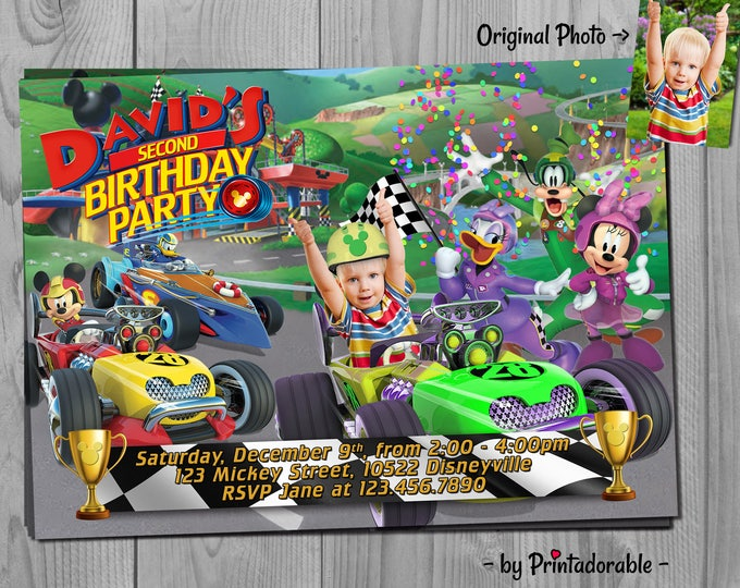 Mickey Roadster Racers Invitation - Mickey Roadster Racers - Mickey Roadster - Mickey Racer - Mickey Invitation - Roadster Racers - Mickey