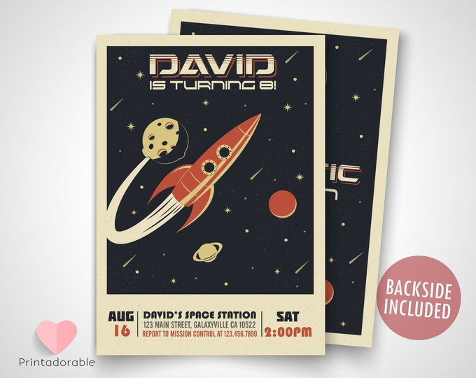 Classic Space Invite • Vintage Space Invitation • Rocket Invitation • Galaxy Invite • Universe Invite • Spacial Invitation • Spacial Invite