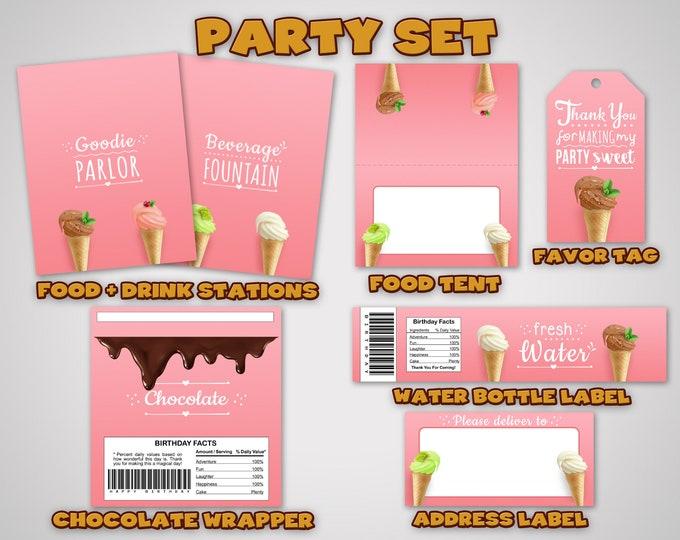 Ice Cream Party Set • Ice Cream Party Kit • Ice Cream Printables • Ice Cream Birthday