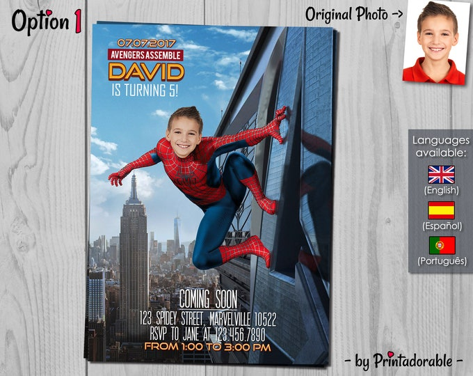 Spiderman Invitation - Amazing Spiderman - Spider man Invite - Avengers Invitation - Infinity Wars - Marvel Birthday Party
