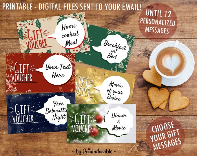 Christmas Gifts, Christmas Vouchers, Christmas Coupons, Printable Gifts, Gift Voucher for Christmas, Inexpensive Gift, Customizable