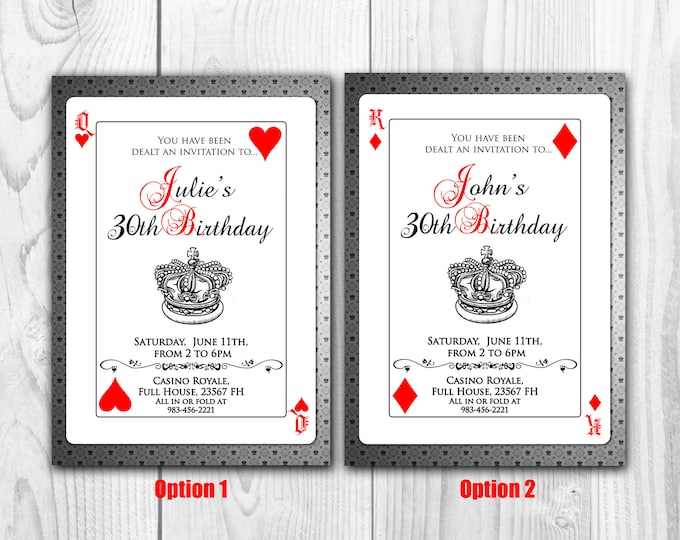 Playing Cards Invitation - Poker Invite - Cards Invitation - Poker Invitation - Cards Invite - Casino Invite - Casino Invitation