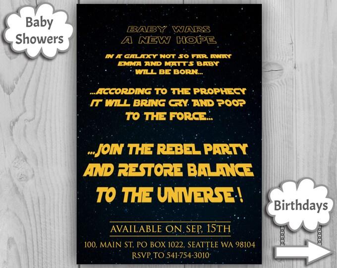 Star Wars Baby Shower - Star Wars Intro - Star Wars Invitation - Star Wars Invite - Star War Baby Shower - Star Wars - Jedi Baby Shower