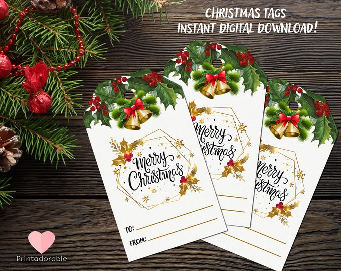 Christmas Gift Tags, Christmas Tags, Xmas Tags, Simple Christmas Tags, Cute Xmas Tags, Digital tags, Instant Download Tags