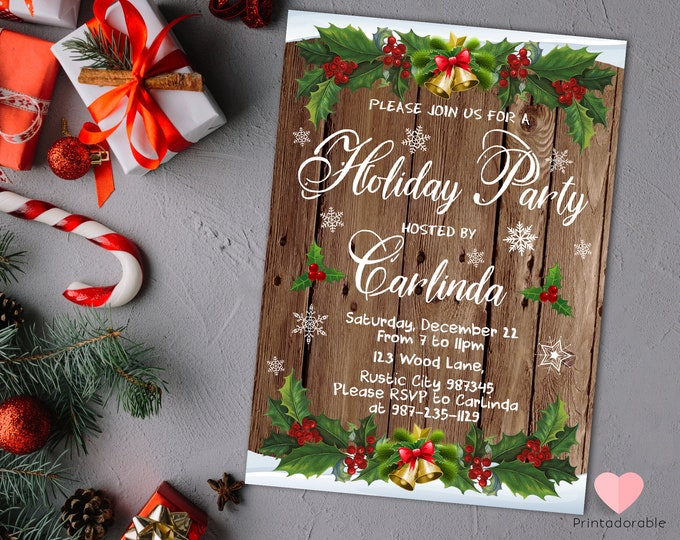 Rustic Christmas Invite - Christmas Wood Invitation - Rustic Holidays Invitation - Mistletoe Invitation - Rustic Holiday Party - Xmas invite