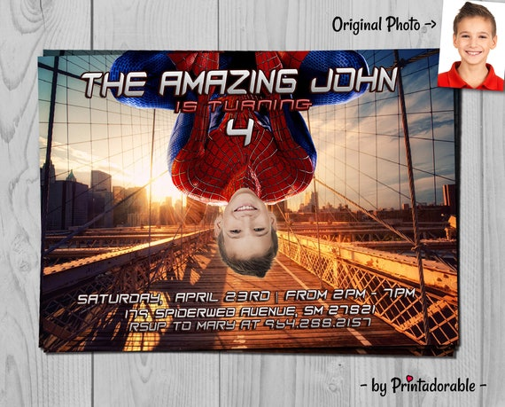 Spiderman Invitation - Spiderman Invite - Amazing Spider man - Spiderman - Amazing Spiderman - Spiderman Party - Avengers Invitation