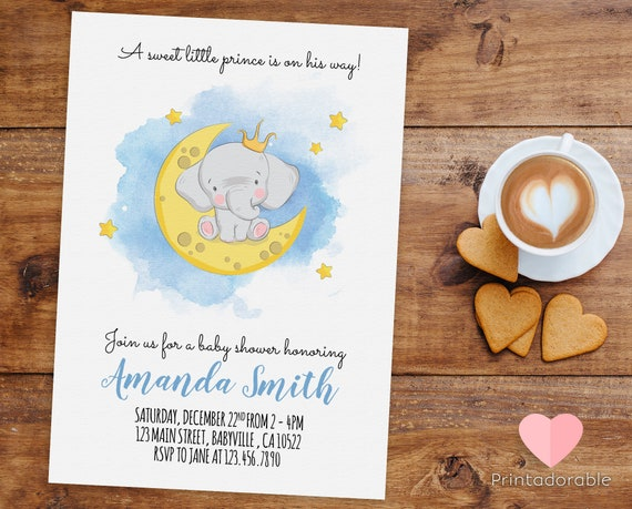 Cute Watercolor Elephant Prince Invitation for Birthday or Baby Shower