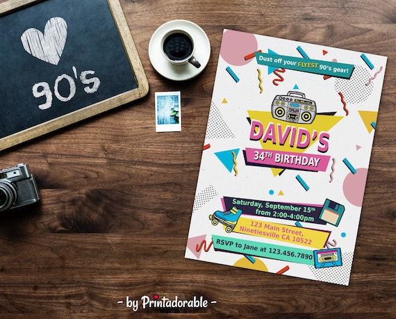 90s Invite, 90s party, 90s Invitation, 90s Birthday, Memphis Style Invite, Retro Invite, 90's Invitation, 90's invite, Throwback Party