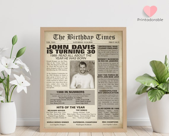 1989 Sign, 30 years sign, 30th birthday sign, The World in 1989, 1989 Poster, 1989 Newspaper, 1989 Cover, The Birthday Times, Born in 1989