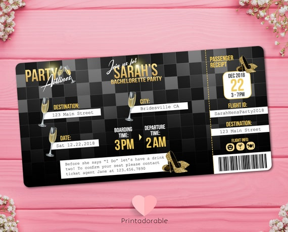 Bachelorette party Airplane Ticket Invitation  •  Hens Party Boarding Pass Invite  •  Black and Gold Flight Ticket