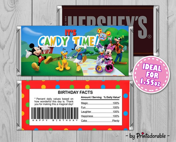 Mickey Chocolate - Mickey Chocolate Bar - Chocolate Wrapper - Mickey Hershey - Mickey Wrapper - Mickey Hershey Bar - Mickey Party Set