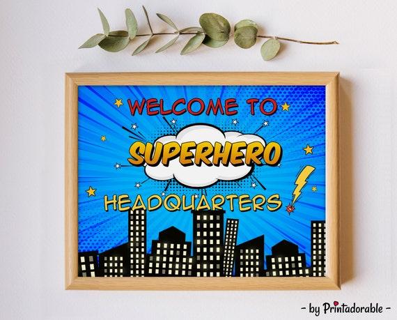 Welcome to Superhero Headquarters Sign, Superhero Door Sign, Superhero Hanger, Superhero Poster, Superhero Room Sign, Superhero HQ Sign