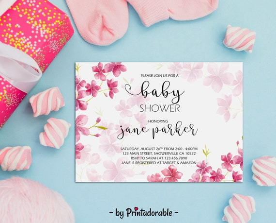 Cherry Baby Shower - Baby Shower Invite - Cherry Blossom - Cherry Invite - Watercolor Invite - Flower Invite - Cherry Invitation